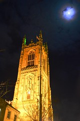 Derby - Cathedral (cnmark) Tags: uk unitedkingdom england midlands derby cathedralofallsaints cathedral church old historic building steeple tower moon moonlight clouds architecture night nacht nachtaufnahme noche nuit notte noite ©allrightsreserved