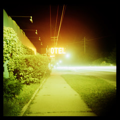 (M) O T E L (Ralph Krawczyk Jr) Tags: longexposure motion color 6x6 bulb lights xpro neon crossprocess tripod toycamera lofi motel plastic sidewalk squareformat grandriver expiredfilm holga120n fujiprovia100f allrightsreserved 120mediumformat 1minuteexposure farmingtonhillsmichigan rckrawczykjr alittleoverexposed ralphkrawczykjr 20091017
