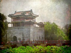 Summer Palace Gatehouse (Kurlylox1) Tags: bridge red illustration fairytale pagoda pond lotus chinese beijing summerpalace multicolored childrensbook willows textured tileroof gatehouse curvedroof anawesomeshot