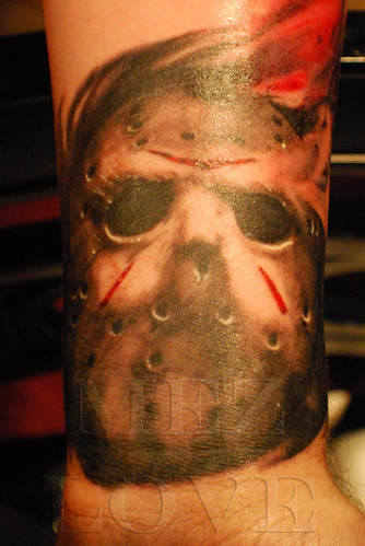 Detail of Jason Voorhees Blade Tattoo. Postado por Blade Tattoo Studio