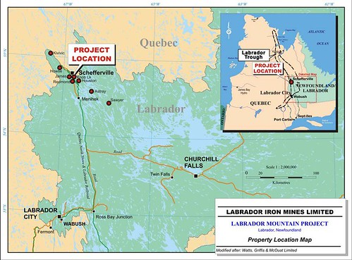 Labrador Iron Mines Property Location Map