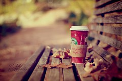 Because there just aren't enough shots of the Starbuck's Christmas Cups on Flickr (mjmatt) Tags: autumn fall leaves 50mm starbuckschristmascup nfventicaramelmocchiato