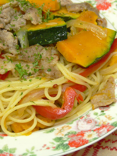 カボチャと豚肉のスパゲティ