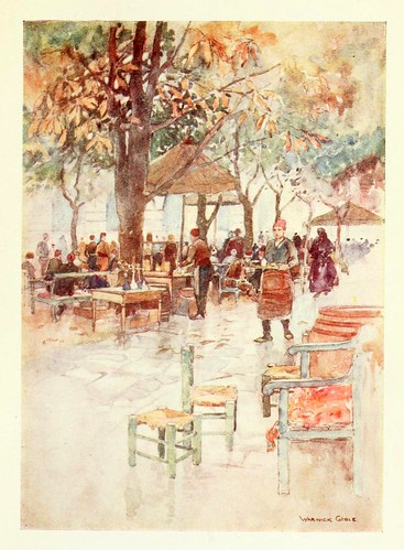 018- Un cafe al aire libre en Estambul- Constantinople painted by Warwick Goble (1906)