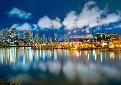 False Creek @ Night? (Christopher J. Morley) Tags: city longexposure blue sky canada reflection water night vancouver buildings boats lights downtown falsecreek 15seconds 2framepano artofimages bestcapturesaoi