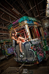 Tram (hangingpixels-OLD ACC) Tags: mandy old hot building female canon tin graffiti model exterior interior shed sydney tram australia urbanexploration behindthescenes softbox bts offcameraflash pocketwizard canon1740mml strobist 580exii