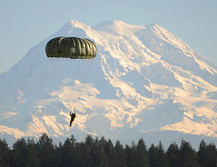 Jump over Mt. Rainier (The U.S. Army) Tags: training washington jump military wa soldiers airborne parachute usarmy mtranier specialforces fortlewis paratrooper commemorate mentonday combinedforces canadianspecialoperations canadianspecialoperationssoldier specialforcesgroup canadianfirstspecialserviceforce