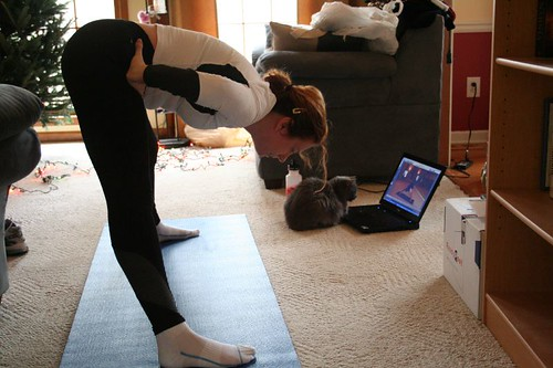 Jenn and Cat doing Yoga