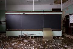 classroom seafoam (Superchou) Tags: ohio green abandoned ladder destroyed blackboard seafoam youngstown