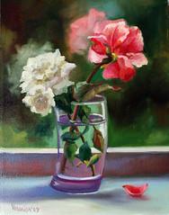 2roses glass (veronica winters) Tags: roses vase oilpainting whiterose pinkrose