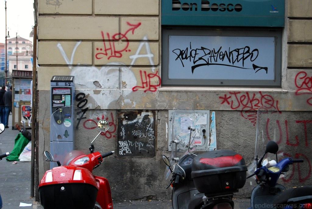 Police Graffiti Rome Italy Europe.
