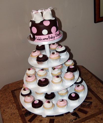 Pink and Brown polka dot baby shower cupcake tower with baby booties