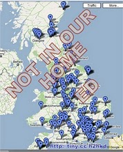 Each blue blob shows a case of child abuse in an institution like a nursery or a school