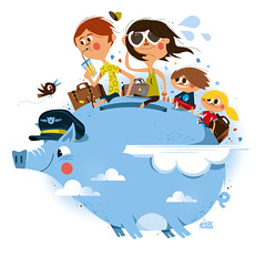 Magazine illustration (Lindedesign) Tags: travel family vacation holiday flyingpig editorialillustration