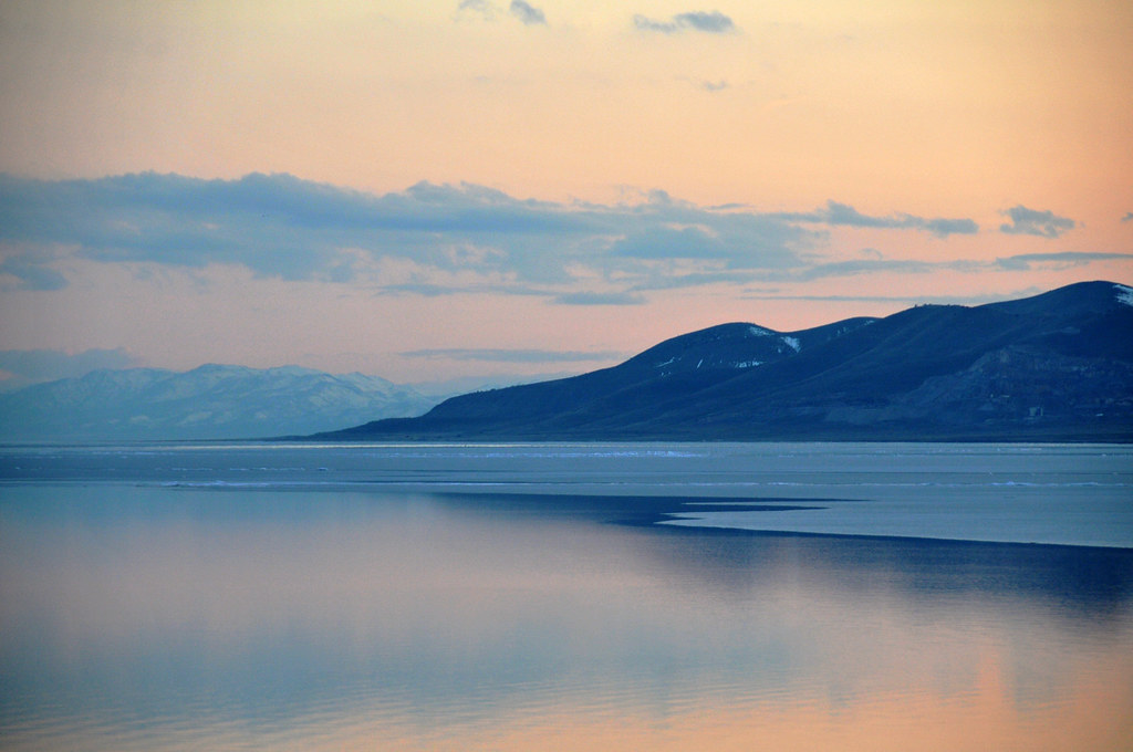 utah lake pastel sunset