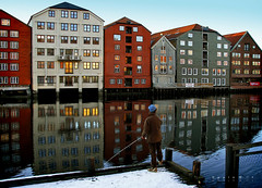 Mr. Fisher 2 (applewei) Tags: city winter snow reflection beautiful norway canon river mirror norge fishing fisherman europe artistic kunst powershot fisher wei trondheim bakklandet byen speilbilde s5is applewei