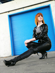 (ballerinababy1) Tags: red sexy girl leather ginger model boots modeling extreme heels fishnets poses edgy grundge