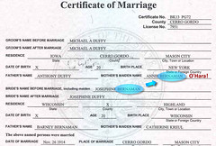 Marriage Certificate Detail, Duffy - Bernemann, Iowa 1914
