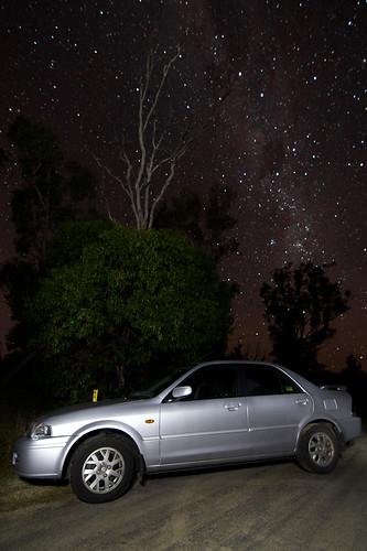 Car Against Starry Sky