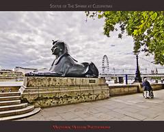 Statue of The Sphinx at Cleopatras (Muzammil (Moz)) Tags: uk london londoneye moz victoriaembankment riverthams muzammilhussain statueofthesphinxatcleopatras