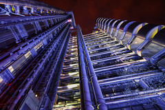 Veins and Arteries (TheFella) Tags: city uk longexposure greatbritain red england sky building tree slr london architecture night digital photoshop canon eos evening photo high europe dynamic unitedkingdom capital pipes thecity nighttime photograph processing slowshutter gb dslr range hdr highdynamicrange lloyds bishopsgate lloydsbuilding postprocessing 500d photomatix