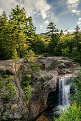 Late Afternoon, Screw Auger Falls, Newry, Maine  (10100-10102) (John Bald) Tags: pine clouds waterfall maine bluesky falls granite ravine spruce bethel screwaugerfalls newry screwauger graftonnotchstatepark