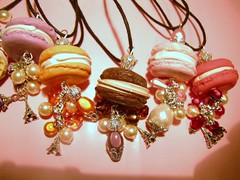 macaron necklace (xtine.bijoux) Tags: food cake pie miniature strawberry cookie sweet chocolate cream creme polymerclay fimo patisserie kawaii pastry fraise chocolat gateau sucre kato kawai macaron premo