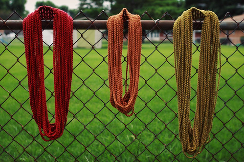 softspoken chain scarves in xtra long celery, long apple, and medium cinnamon