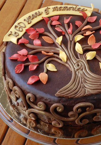 Autumnal Family Tree birthday cake