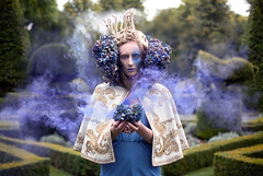 Wonderland : The Garden of Whispered Wishes (Kirsty Mitchell) Tags: girl fairytale topiary katie magic surrey queen fantasy maze crown wonderland storybook hydrangeas smokebomb bluehydrangeas greatfostershotel kirstymitchell elbievaneeden sorrynonewblogentiresyetwillcatchupsoonverytired katiealmostburnedherhandsofholdingthis