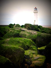 New Brighton Lighthouse, (Tony Worrall Foto) Tags: uk england green liverpool rocks northwest shoreline rocky historic boulders birkenhead shore barrier lit seafront upright wirral relic newbrighton merseyside slimey scouse newbrightonlighthouse perchrocklighthouse
