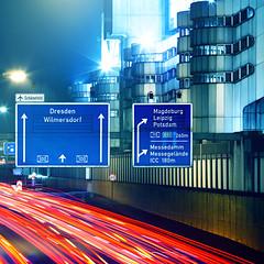 Autobahn / ICC (96dpi) Tags: longexposure light berlin sign night highway nightshot nacht autobahn fair explore trail schild speedlimit messe frontpage icc 70200 60 a100 bab ausfahrt a115 bundesautobahn internationalescongresscentrum