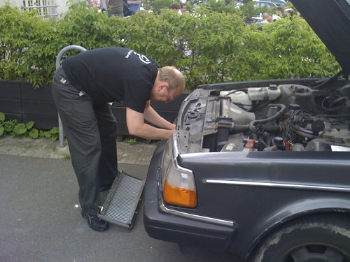 Føhns repairing his old Volvo at Reboot by marksdk, on Flickr