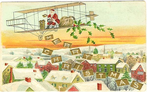 Santa in an airplane