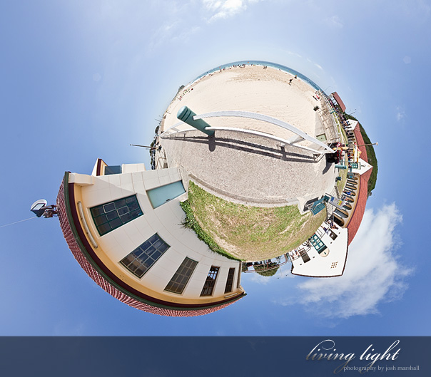 Nobby's Beach panorama sphere, Newcastle Australia.