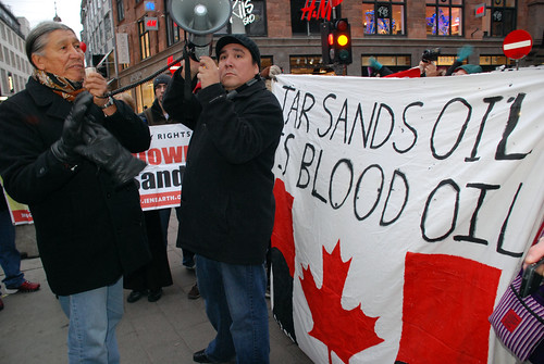 Indigenous activists at tar sands demo