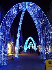 South Molton Street xmas lights 2 (Cybermyth13) Tags: christmas street xmas city uk blue england urban london shopping lights arch shapes streetphotography shops oxfordstreet 2009 w1 westend bondstreet southmoltonstreet southmolton 1galleries