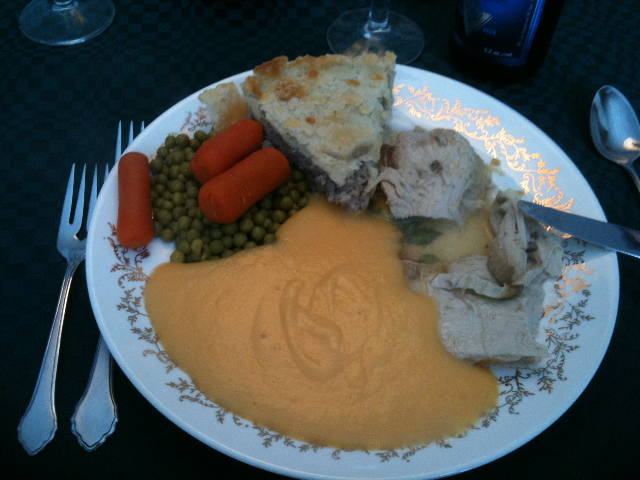 "Tourtière, turkey, veggies, ""mashed"" sweet potatoes"