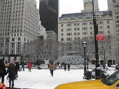 Pulitzer Fountain (dedalus1947) Tags: nyc newyorkcity ny newyork manhattan 5thavenue plazahotel snowfall 59thstreet pulitzerfountain