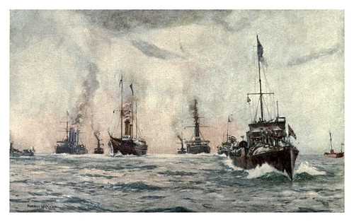 014- Escolta real a la llegada del rey de Portugal-The Royal Navy (1907)- Norman L. Wilkinson