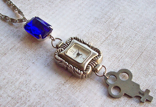 Vintage Working Watch Necklace, Vintage Sapphire Blue Jewel and Small Skeleton Key