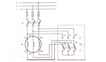 Schema  de  montaj  la  pornirea stea-triunghi a motorului asincron