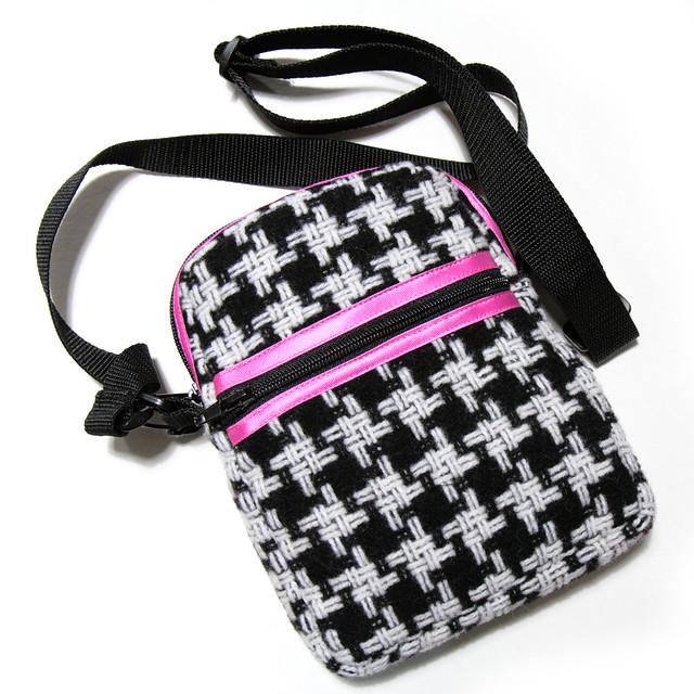 Houndstooth and pink handmade bag