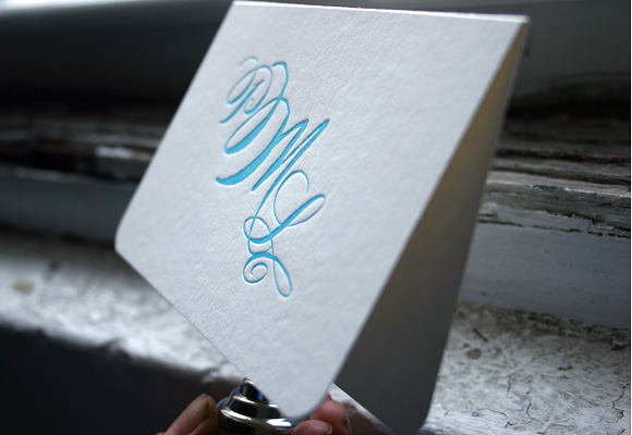 Calligraphy Monogram Letterpress Social Note by Smock