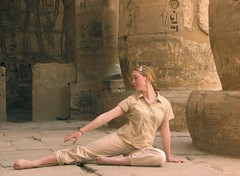 Linnea at Medinet Habu (Lyrinda) Tags: people building photo dance egypt dancer medinethabu