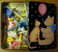 cat and Teddy Tin open (wintersoul1) Tags: vintage tin popsiclesticks blackandbrown cookingaccessories cornpicks