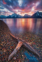 Clearing Storm Jackson Lake Wyoming (Chip Phillips) Tags: park sunset lake reflection landscape photography phillips grand jackson driftwood national chip wyoming teton ostrellina