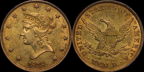 1838 $10.00 PCGS AU55