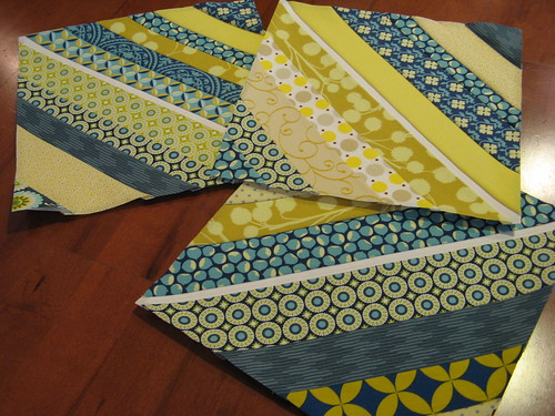 blue and yellow string quilt
