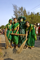 Men in Green !  Oops Women too ! Clean Goa is a Dream. (Anoop Negi) Tags: world street carnival portrait india white color colour green tourism beautiful sunshine photography for photo momo media colorful king place cross mask image photos delhi indian bangalore group goa creative culture images best dressing parade babes po carnaval tradition float mumbai saree carnevale anoop vasco broom journalism tableaux masque panjim 2010 negi dressers sweeps sweepers mapusa margao photosof ezee123 bestphotographer imagesof anoopnegi jjournalism